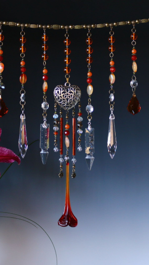 """Window Necklaces"" Beaded Glass Curtain Hangings • made with vintage chandelier pieces"
