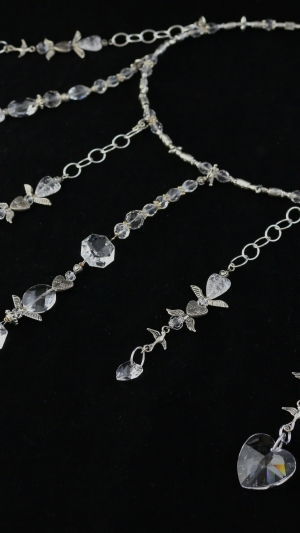 Vintage Chandelier Clear Heart Prism Feature 7 Strand Window Necklace