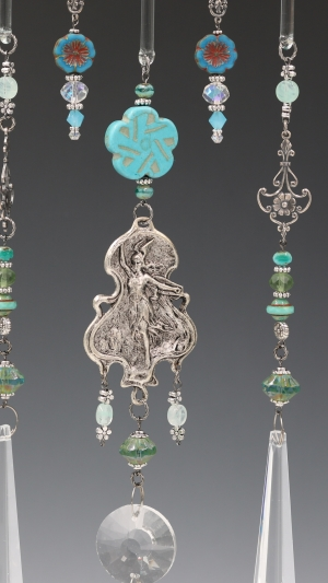 """Gorgeous Warrior Goddess """"Lady Athena"""" (Valkyrie) Theme """"Window Necklace"""" Hanging with New and Vintage Chandelier Glass"""