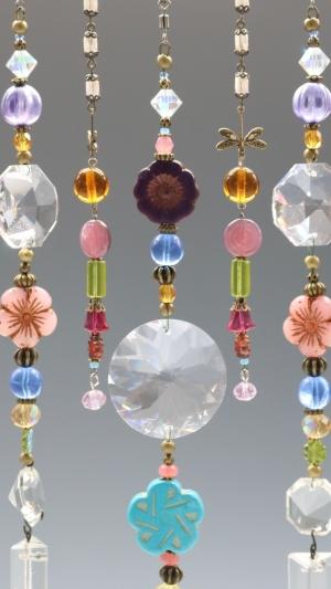 Beaded Curtain w/Gemstones & Dragonflies, Chandelier Glass Hanging, Sun Catcher, Boho Decor, Crystal, Prism Glass, Chandelier Crystal Glass