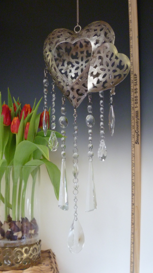Elegant Crystal Clear Heart Votive Lantern