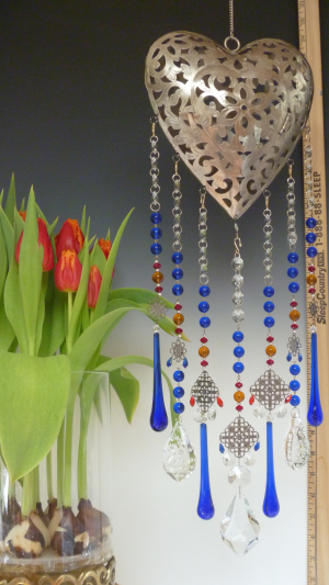 Beautiful Heart votive Lantern -Cobalt theme