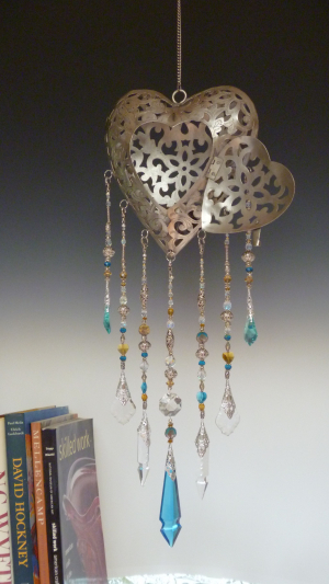 Heart Lantern with Very Rare Aqua Spear and J Point Chandelier Glass