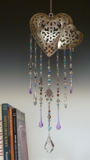 Heart Lantern with Lavender Glass Drops and Rare VIntage Focal Drop