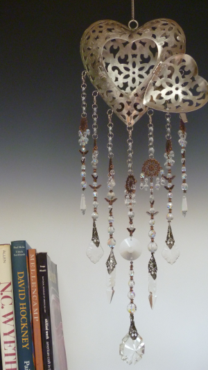 Stunning Heart Lantern with Rare Vintage carved chandelier glass