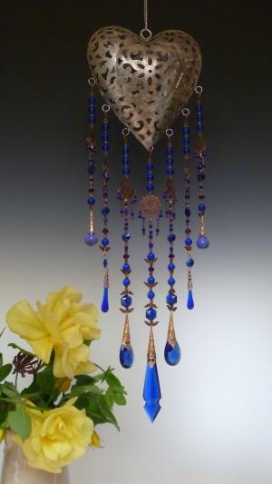 Vintage Murano Cobalt Blue Theme Heart Lantern
