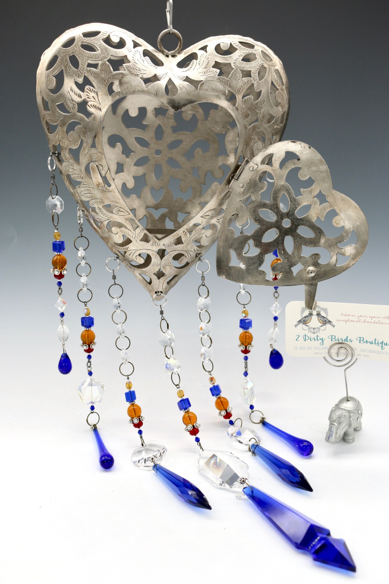 Cobalt Blue Vintage Prism Glass, Handmade Filigree Heart Chandelier Glass Hanging
